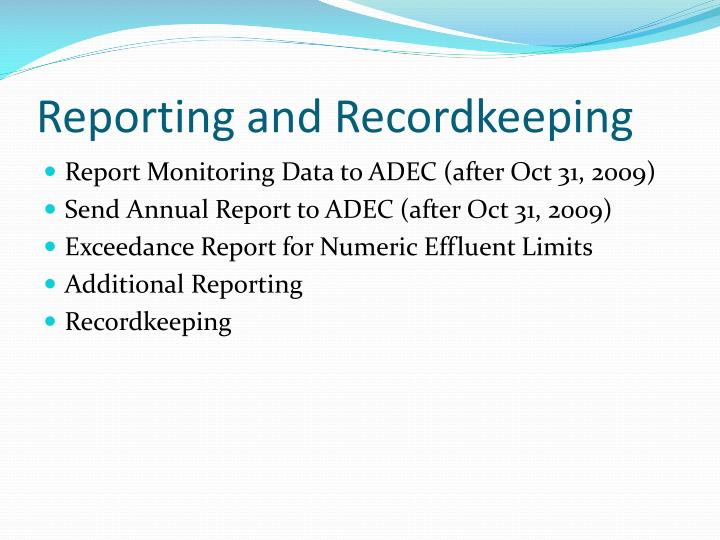 Reporting and Recordkeeping
