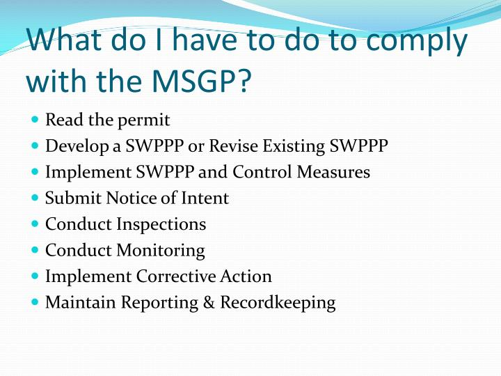 What do I have to do to comply with the MSGP?