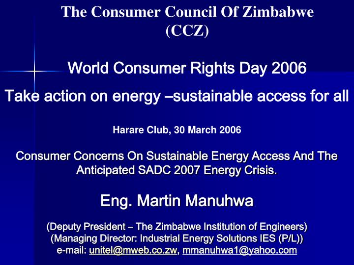 the consumer council of zimbabwe ccz world consumer rights day 2006 n.