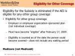 eligibility for other coverage