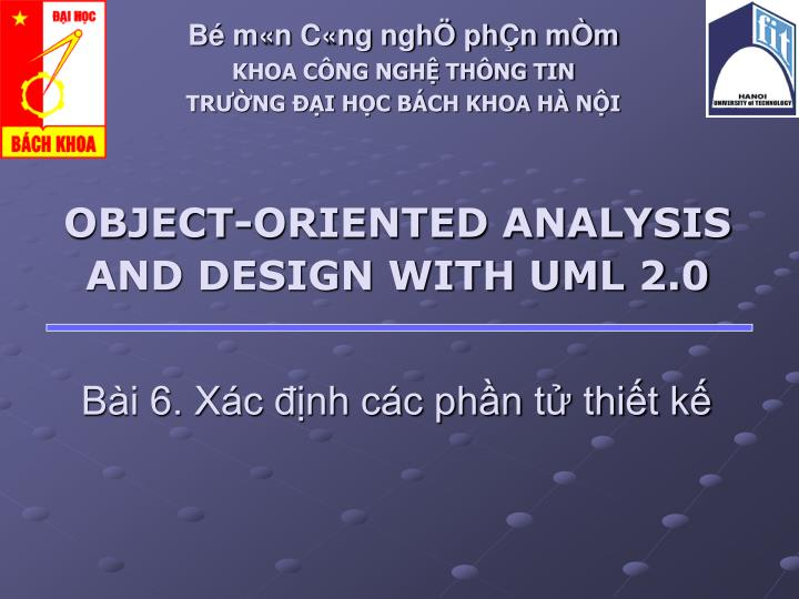 object oriented analysis and design with uml 2 0 n.