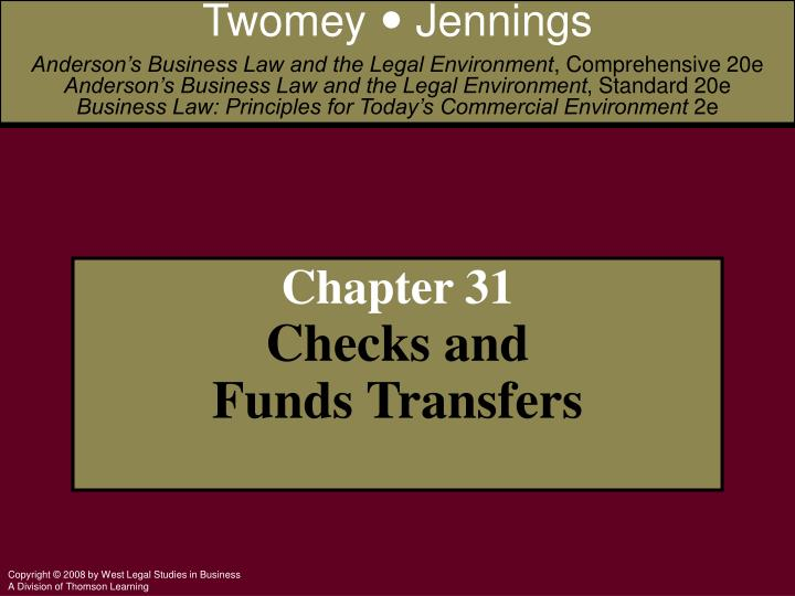 chapter 31 checks and funds transfers n.