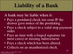 liability of a bank