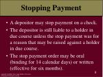 stopping payment