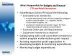 who s responsible for budgets and finance cte and adult instructors