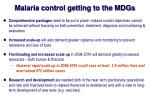 malaria control getting to the mdgs