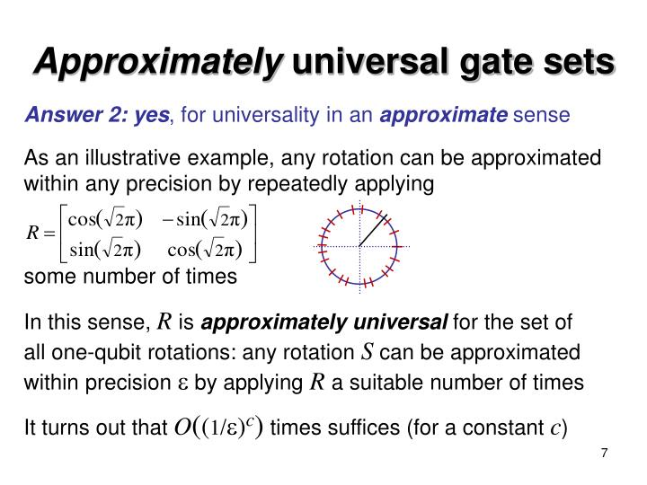 As an illustrative example, any rotation can be approximated within any precision by repeatedly applying