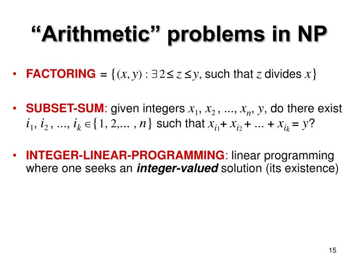 """""""Arithmetic"""" problems in NP"""