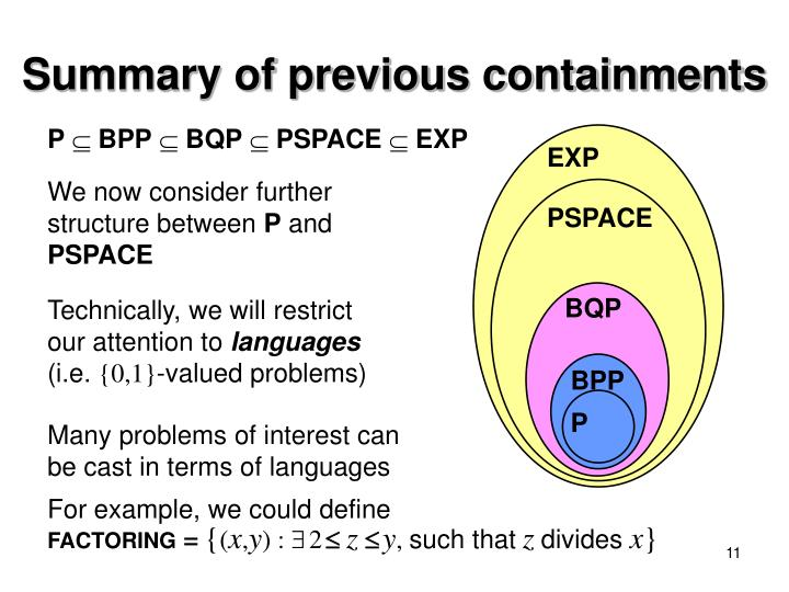 Summary of previous containments
