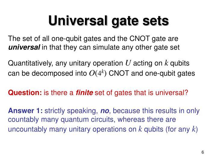 Universal gate sets