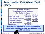 dasar analisis cost volume profit cvp