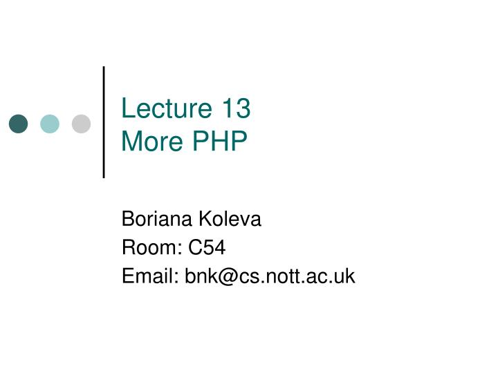 lecture 13 more php n.