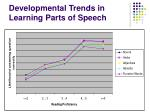 developmental trends in learning parts of speech