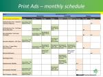 print ads monthly schedule