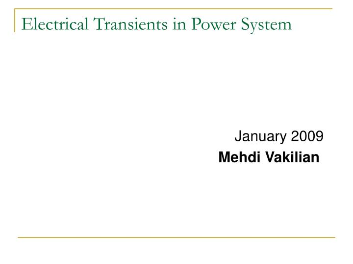 electrical transients in power system n.