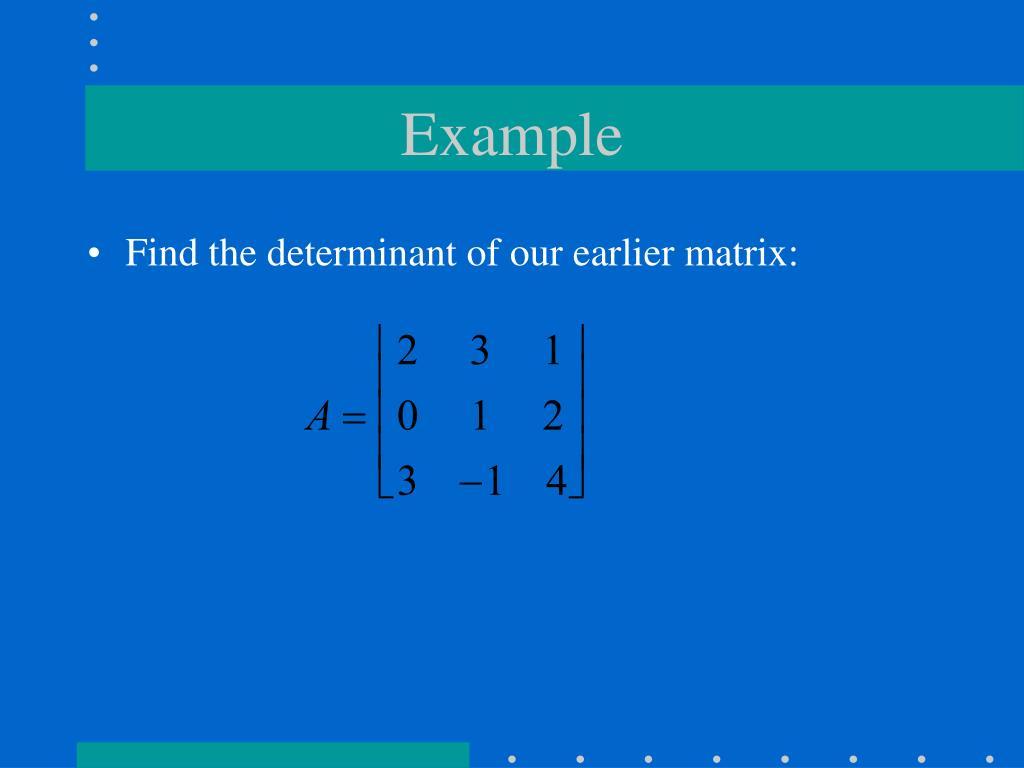 Laplace determinant example