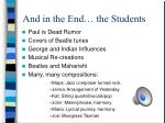and in the end the students