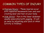 common types of injury