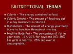 nutritional terms