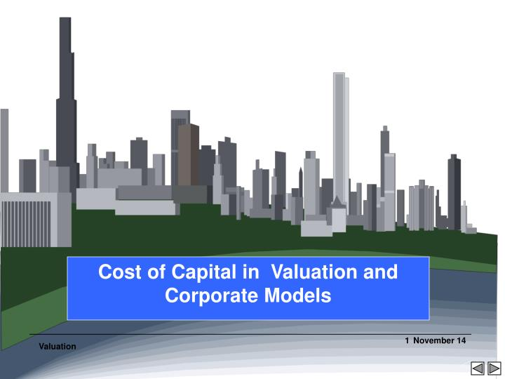 cost of capital in valuation and corporate models n.