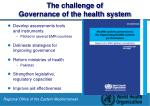 the challenge of governance of the health system