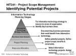 hit241 project scope management identifying potential projects