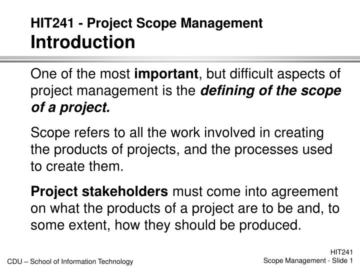 hit241 project scope management introduction n.
