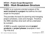 hit241 project scope management wbs work breakdown structure