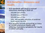 eca benefits emissions and health