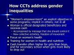 how ccts address gender inequalities