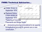 fhwa technical advisories