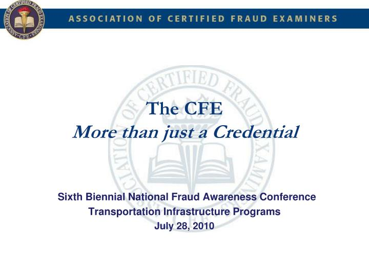 the cfe more than just a credential n.