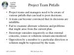 project team pitfalls