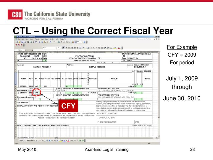 CTL – Using the Correct Fiscal Year