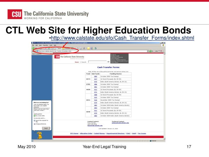 CTL Web Site for Higher Education Bonds