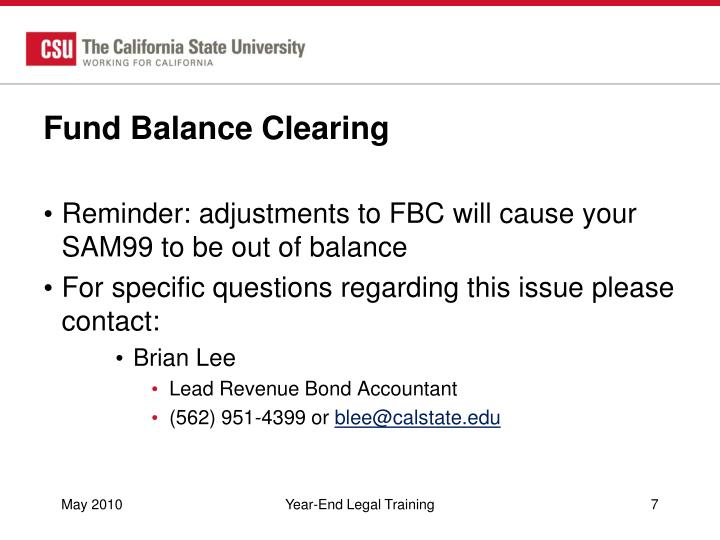 Fund Balance Clearing
