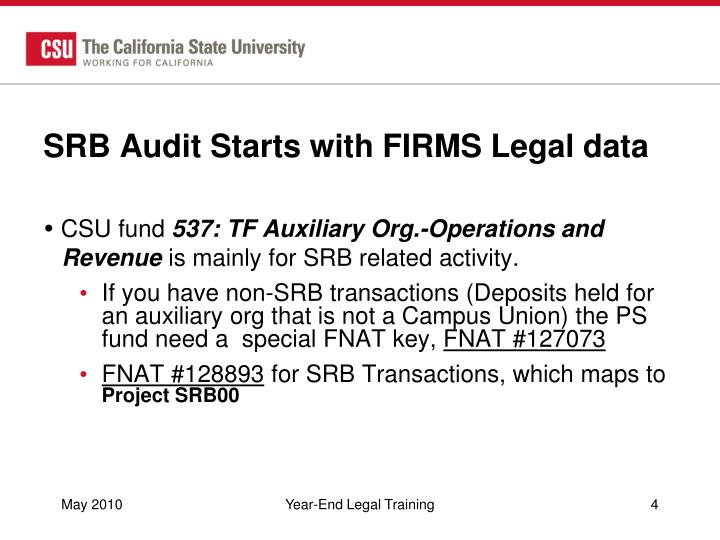 SRB Audit Starts with FIRMS Legal data