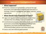 approach to investigations cont