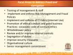 focus areas to address fraud and corruption