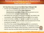 national perceptions on local government fraud and corruption
