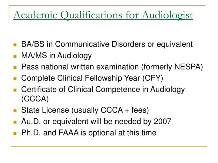 Academic Qualifications for Audiologist