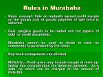 rules in murabaha