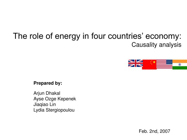 the role of energy in four countries economy causality analysis n.