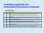evaluating leadership and instructional performance continued