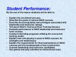 student performance by the end of the lesson students will be able to