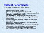 student performance by the end of the lesson you will be able to