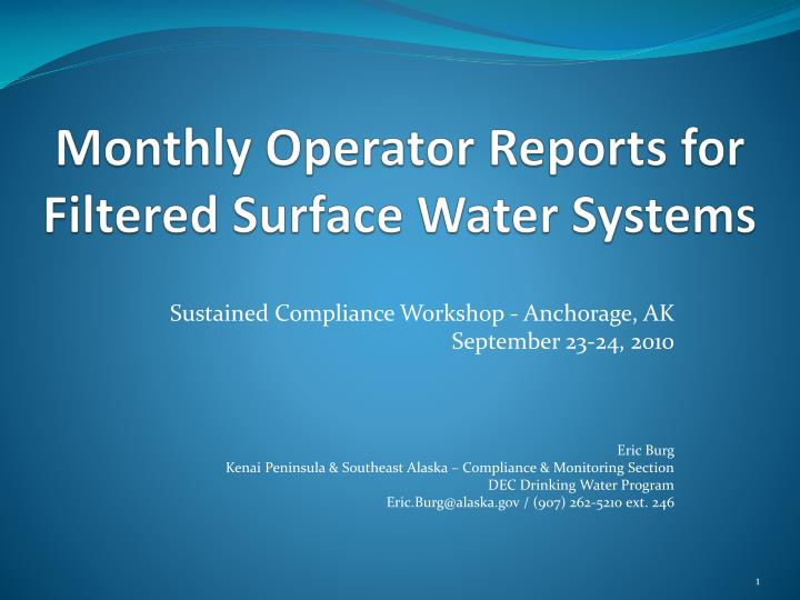 monthly operator reports for filtered surface water systems n.