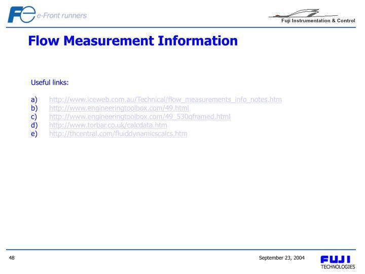 Flow Measurement Information
