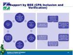 support by bee cpa inclusion and verification