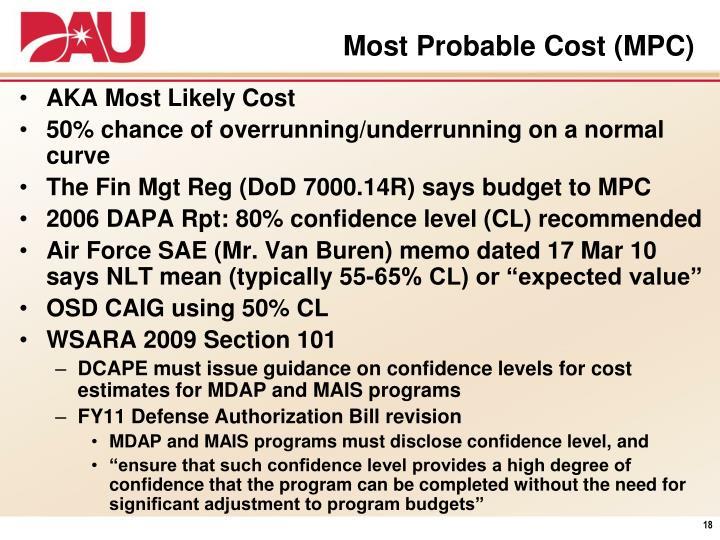 Most Probable Cost (MPC)